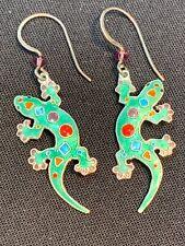 Sterling Silver Cloisonné Pierced Earring Gecko lizard colorful purple crystal