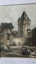 Gravure de 1853 - Nevers - Porte de Croux  - couleur