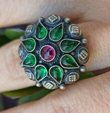 ANELLO DONNA ARGENTO 925 RING SILVER STERLING RUBY ONICE VERDE GREEN ONYX A59