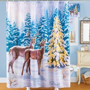 Winter Pine Forest Deer Scene Christmas Bathroom Fabric Shower Curtain