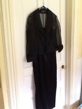 Alex Evenings Gown LBD Black Sheath Sheer Jacket Mother of Bride Size 10