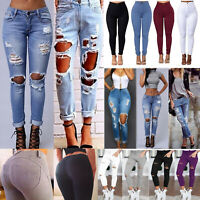 Women Push-Up Distressed Ripped Denim Jeans Skinny Pencil Pants Trousers Jegging