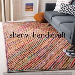 Braided Rug Jute & Cotton Rectangle 3x4 Feet Rug Home Decor Carpet Area Rugs Mat