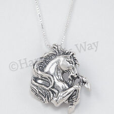 "WILD STALLION MUSTANG Horse Pendant 925 Sterling Silver 18"" Chain Necklace"