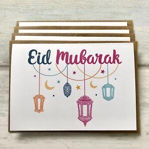 Islamic Happy Eid Mubarak Greeting Cards Pack Of 4 (blank Inside)