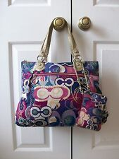 Coach Poppy Signature Glam Tote #18342 With Matching Wristlet Wallet Pink Purple