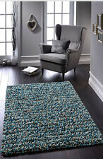 ROCKS SHAGGY MODERN JELLYBEAN HANDMADE  WOOL RUG 60X120 CM NEW BLUE/CREAM