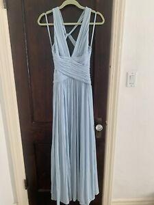 BCBG MaxAzria DRESS Medium LONG GOWN FULL LENGTH PROM BLUE GRECIAN