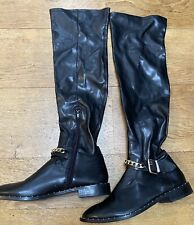 BLACK LEATHER LONG BOOTS ZARA EU 39 UK 6 TOWIE WINTER XMAS PARTY GLAM CHIC SMART
