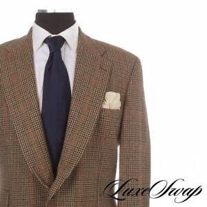 TALL GUYS Paul Stuart Brown Orange Rust Houndstooth Tweed Jacket Canada 46 L NR