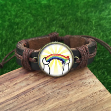 Hippie Gay pride Brown Glass leather & chord Bracelet charm -unisex adjustabl