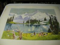 "Millard Sheets Litho Print Glacier Park  22x28"" Awesome on Heavy Paper '64"