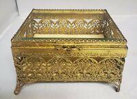 Vtg Hollywood Regency Gold Tone Filigree Footed Glass Casket Box Vanity Matson