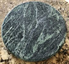 """Beautiful Green Marble 8"""" Round Trivet Cheese Serving Board Plate ~ Footed"""