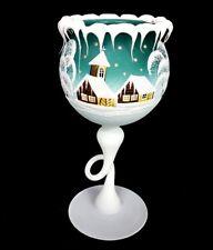 """Winter Candle holder green goblet 4"""" x 4"""" x 8-1/2"""" made Czech Republic"""