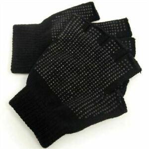 Mens Fingerless Handy Work Safety Warehouse Non Slip Gripper Gloves UK