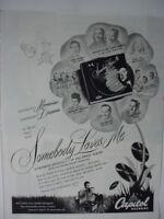 1947 Capitol Records King Cole Trio Buddy DeSylva Peggy Lee Vintage Print Ad 349