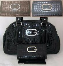 Guess Jenn Synthetic Leather Bag Purse Satchel Sac Wallet Set Croco Patent New
