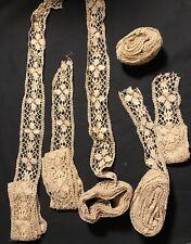 Antique Wide Crochet Lace Victorian Edwardian Lot 6 Long Matching Pieces