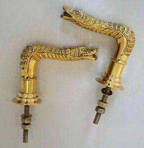 Designer brass snake style door handle push & pull set of 2 pcs w/ nuts & bolt