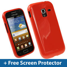 Red Glossy TPU Gel Case for Samsung Galaxy Ace 2 I8160 Android Skin Cover Holder