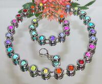 3er Schmuckset Halskette, Armband, Ohrringe rot blau gelb grün mehrfarbig 486a