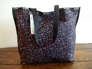 LESPORTSAC Reversible DITSY FLORAL Pink Black MADISON Nylon TOTE BAG with POUCH