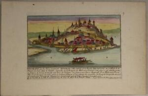 BELGRADE SERBIA 1720 AVELINE UNUSUAL ANTIQUE ORIGINAL COPPER ENGRAVED CITY VIEW