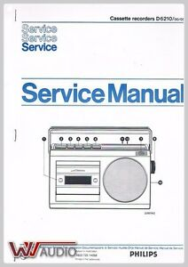 Philips D 6210 Cassette Recorder Service Anleitung Service Manual