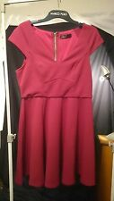 Ally Ladies Dress in Maroon Short Pleated and Panelled Size 10