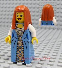 NEW Lego Pirate Orange Hair FEMALE MINIFIG Medium Blue Dress/Skirt Princess Girl