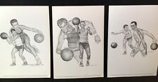 3 1960 Sports Print Basketball Pictures Robert Riger Drawing Mikan Cousy Schayes