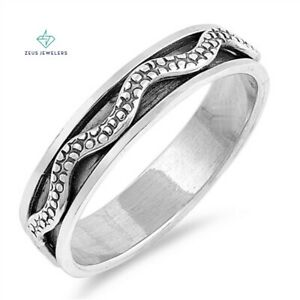 Stainless Steel Snake Anxiety Spinner Ring Meditation Fidget Silver Ring 6mm