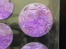 CraftbuddyUS 29pcs Self Adhesive Purple Flower Resin Gems with Floral Details