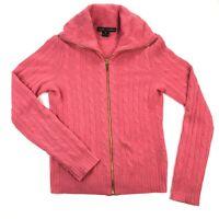 Ralph Lauren Black Label 100% Cashmere Womens Medium Pink Cable Knit Sweater