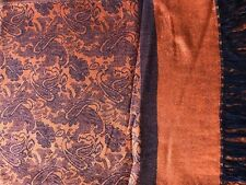 Soft New Pashmina Paisley Floral Silk Wool Scarf Wrap Shawl-Orange/Black-AQ