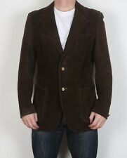 "Suede Jacket Fitted Leather coat Small Medium 38"" Brown 70's (6JBH)"