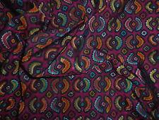 Retro Silky Poly Rayon Dress Making Fabric Abstract Geometric Pink Purple