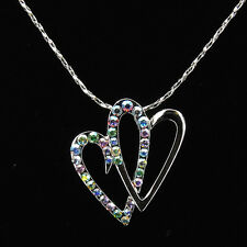 Double Heart Love Necklace Pendants Rhinestone Multicolor Costume Jewelry 18k GP