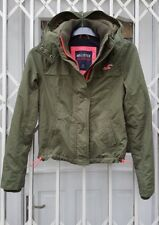 HOLLISTER CALIFORNIA ALL WEATHER HOODED JACKET SIZE S 8 10 KHAKI AND PINK