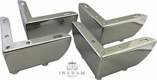 4 x Chrome Furniture Metal Legs Feet for Sofas Chairs Stools Cabinets H.55mm
