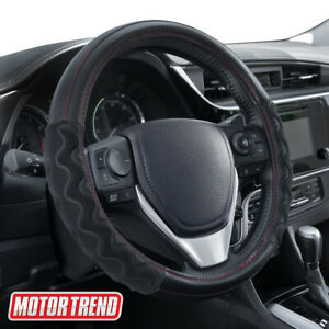 Motor Trend Black Carbon Fiber Max Grip Steering Wheel Cover Universal Fit