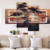 4PCS Large Modern Abstract Pine Tree Oil Painting Wall Canvas Decor No Frame New