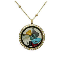 BAT MITZVAH GIFT Changeable Charm Locket Glass Necklace  with mix Natural Stones