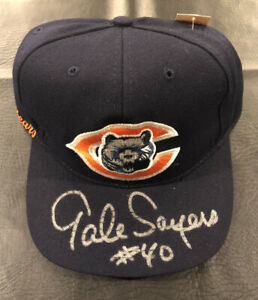 GALE SAYERS Auto Signed Chicago Bears New Era Fitted Hat JSA COA