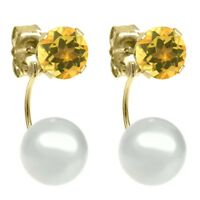 0.90ctw Round 5mm Yellow Citrine 14K Yellow Gold Stud Pearl Earrings