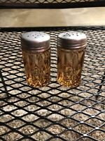 Vintage Amber Depression Glass Salt And Pepper Shakers - Great Color / Great Set