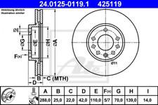 2x Bremsscheibe für Bremsanlage Vorderachse ATE 24.0125-0119.1