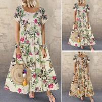 ZANZEA Women Short Sleeve Round Neck Maxi Dress Floral Print T-Shirt Dress Plus