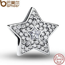 Shine S925 Sterling Silver Crystal Five Star Charm Beads Fit European Bracelets